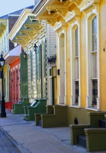 a row of brightly colored house in the French Quarter in New Orleans, Louisiana